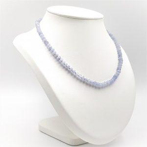 Collar de Calcedonia Azul y cierre de plata - cilindros facetados