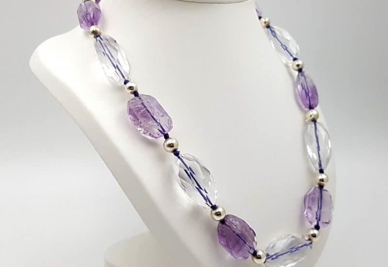 Collar de Amatista y cuarzo Cristal de Roca con cierre de plata