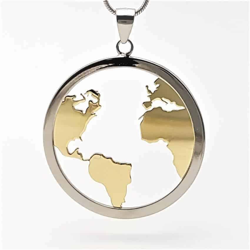 Colgante mundo y gargantilla en plata con baño de rodio y oro