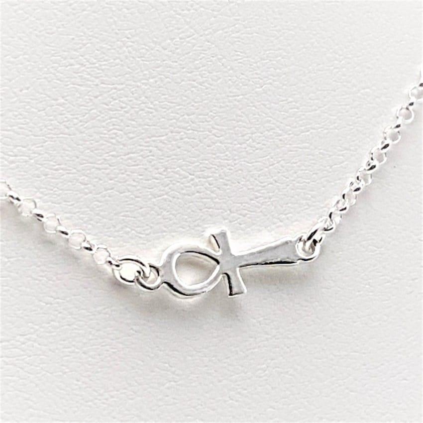 Gargantilla cruz de la vida en plata