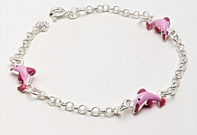 Pulsera de plata de ley 925 mls- Delfines rosas