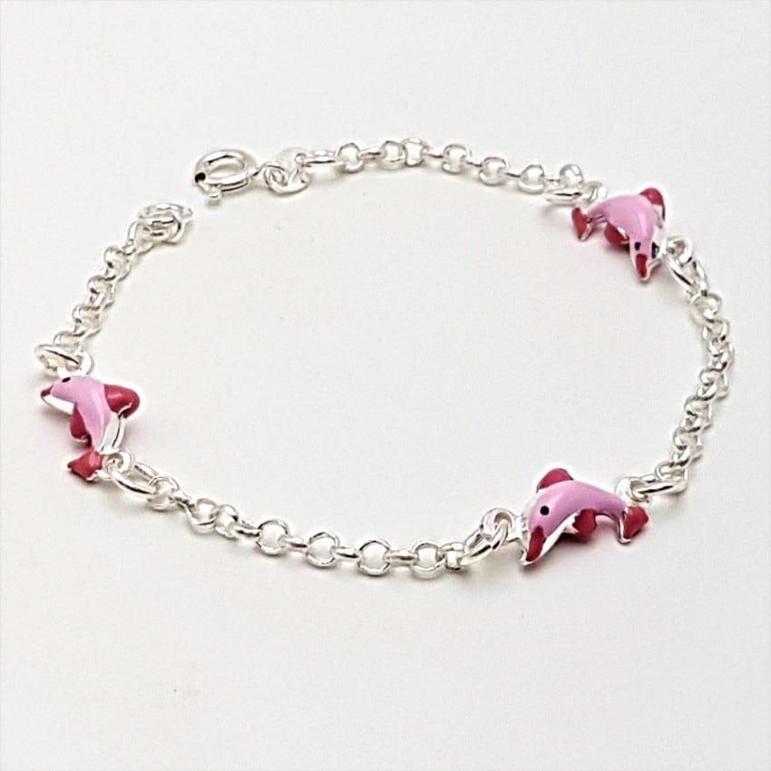 Pulsera delfines rosas en plata