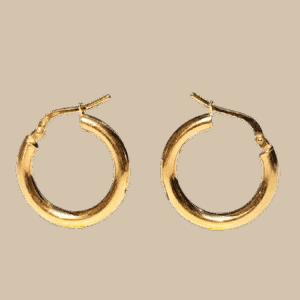 Argollas redondas fabricadas en Plata de ley 925 mls chapadas en oro