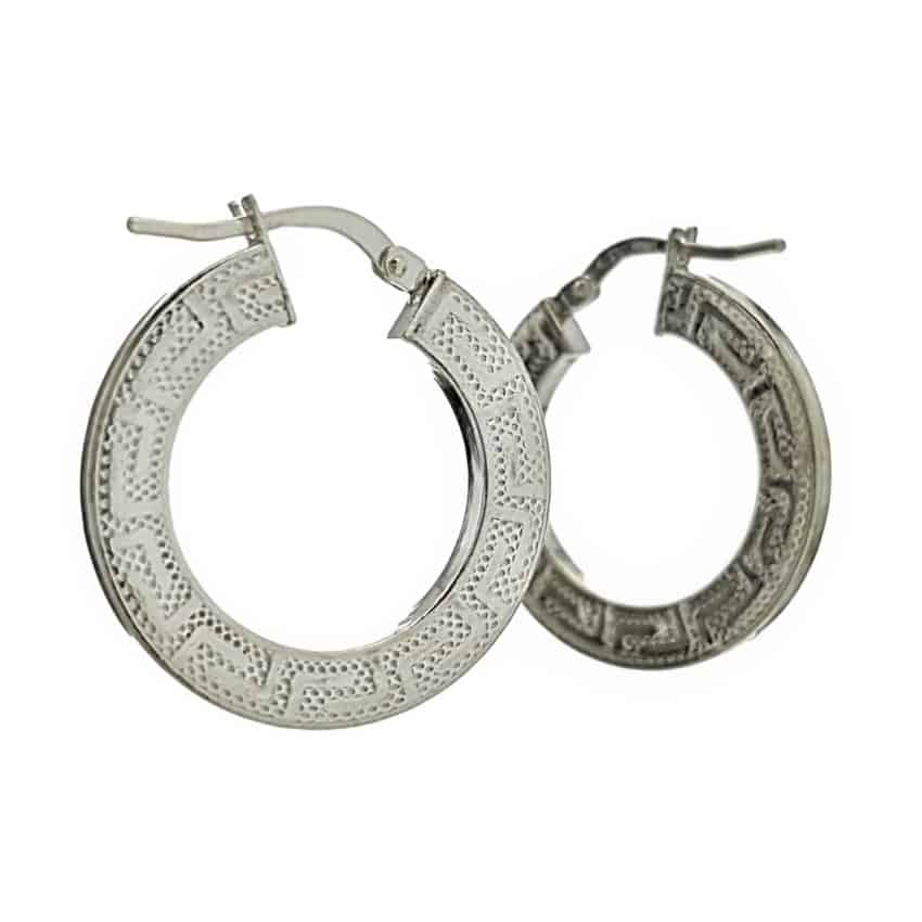 Argollas redondas 25 mm. plata con diseño greca (2)