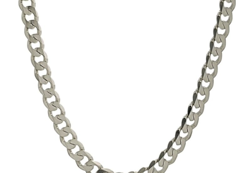 Cadena Barbada, 60 cm x 3,8 mm. de ancho en plata 925