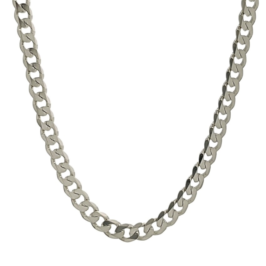 Cadena Barbada de 50 cms x 4 mm. de ancho en plata 925 (11)