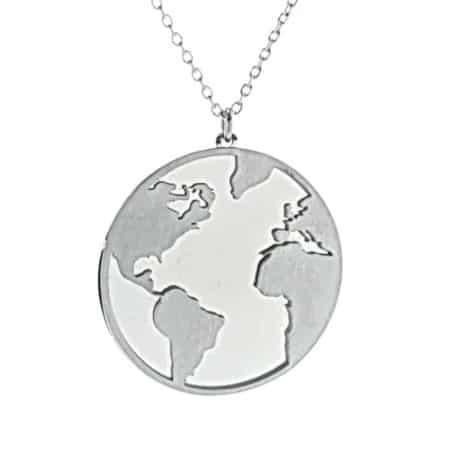 Colgante Mapa Mundi en plata