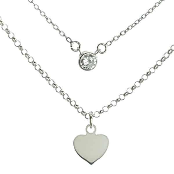 Gargantilla doble corazón y circonita en plata (8)