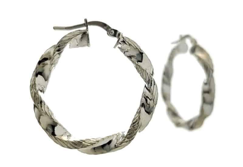 Argollas trenzadas 30 mm. plata 925