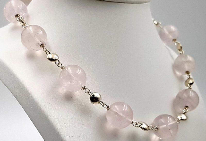 Collar de Cuarzo Rosa fabricado en plata – bolas de 18 mm
