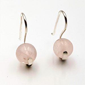 Pendientes con bolas de Cuarzo Rosa fabricados en plata