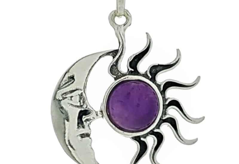 Colgante sol y luna de cuarzo amatista