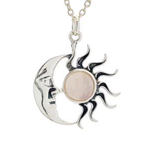 Colgante sol y luna de cuarzo rosa en plata 925