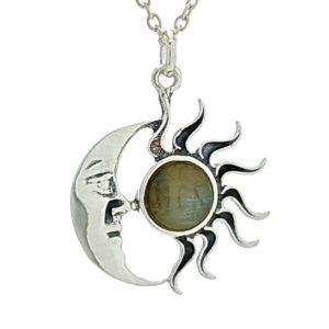 Colgante sol y luna de labradorita en plata 925