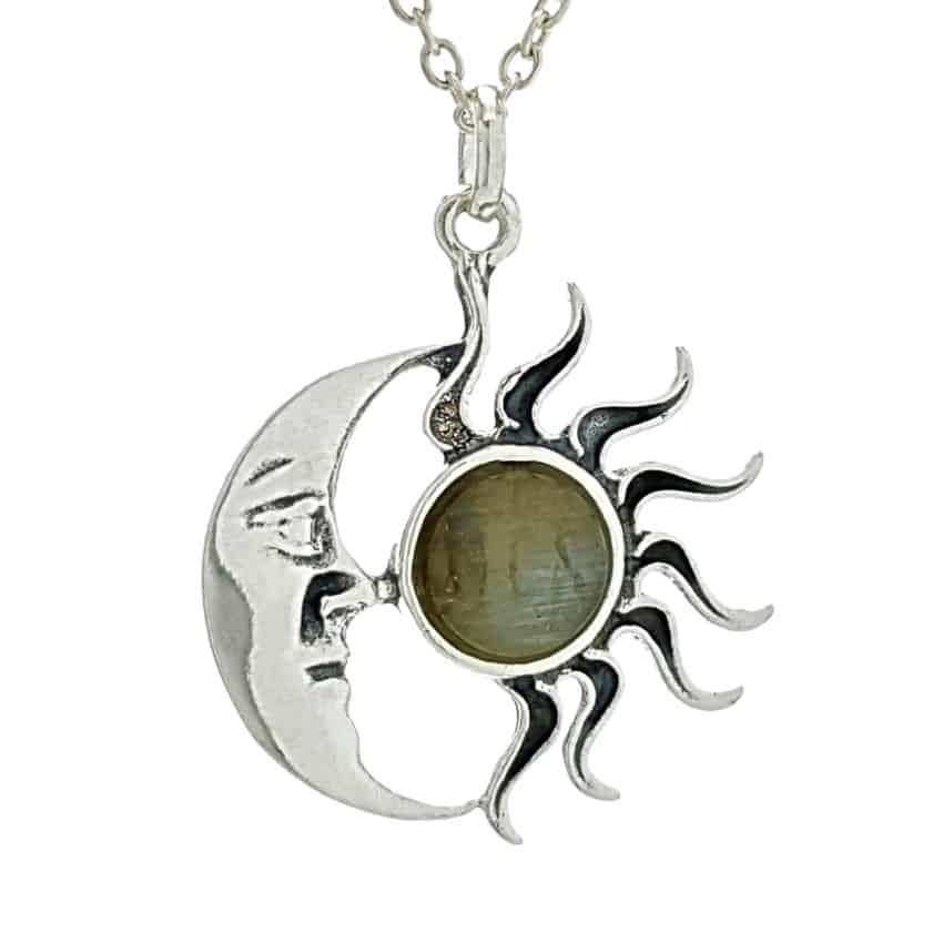 Colgante sol y luna de labradorita en plata 925 (2)