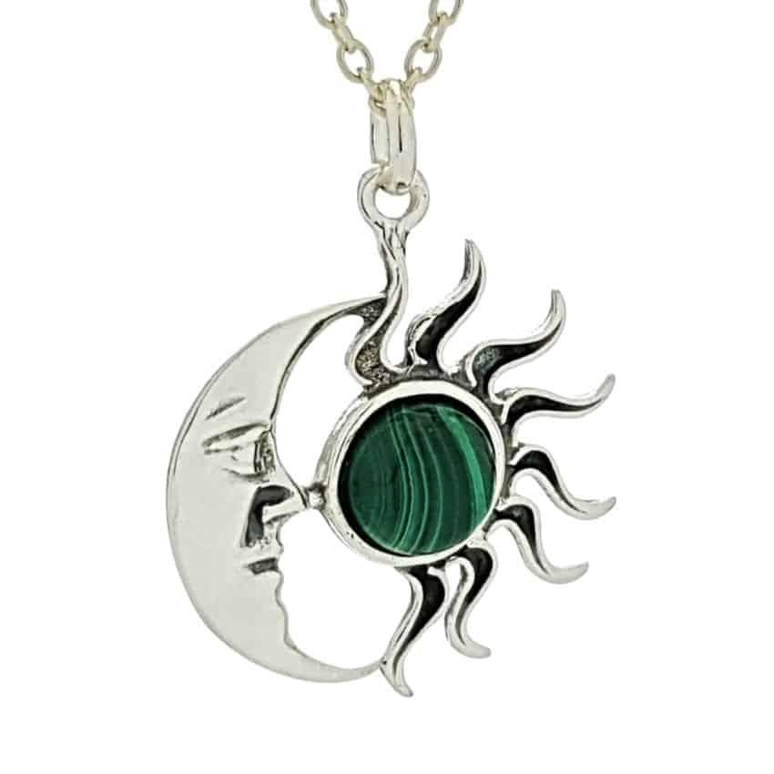 Colgante sol y luna de malaquita en plata 925 (2)