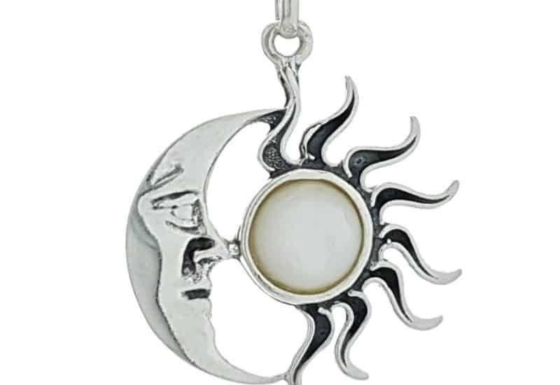 Colgante Sol y Luna de nácar en plata 925