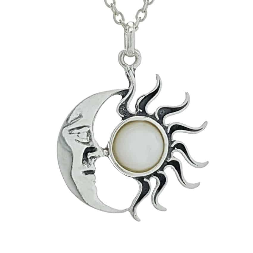 Colgante sol y luna de nácar en plata 925 (4)