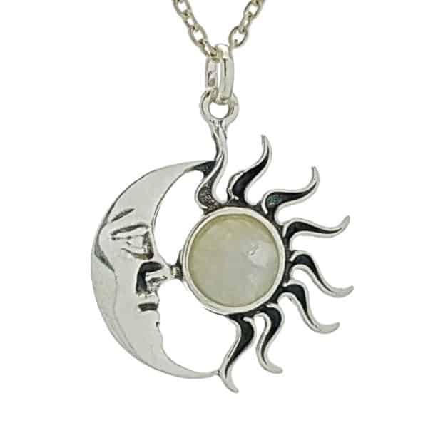 Colgante sol y luna de piedra luna en plata 925 (2)