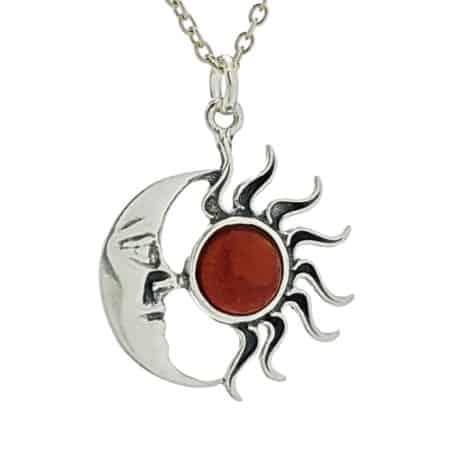 Colgante sol y luna de raíz de coral en plata 925 (3)