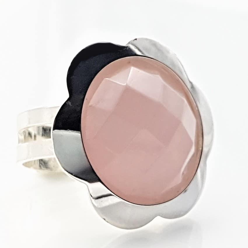 Anillo cuarzo rosa en plata