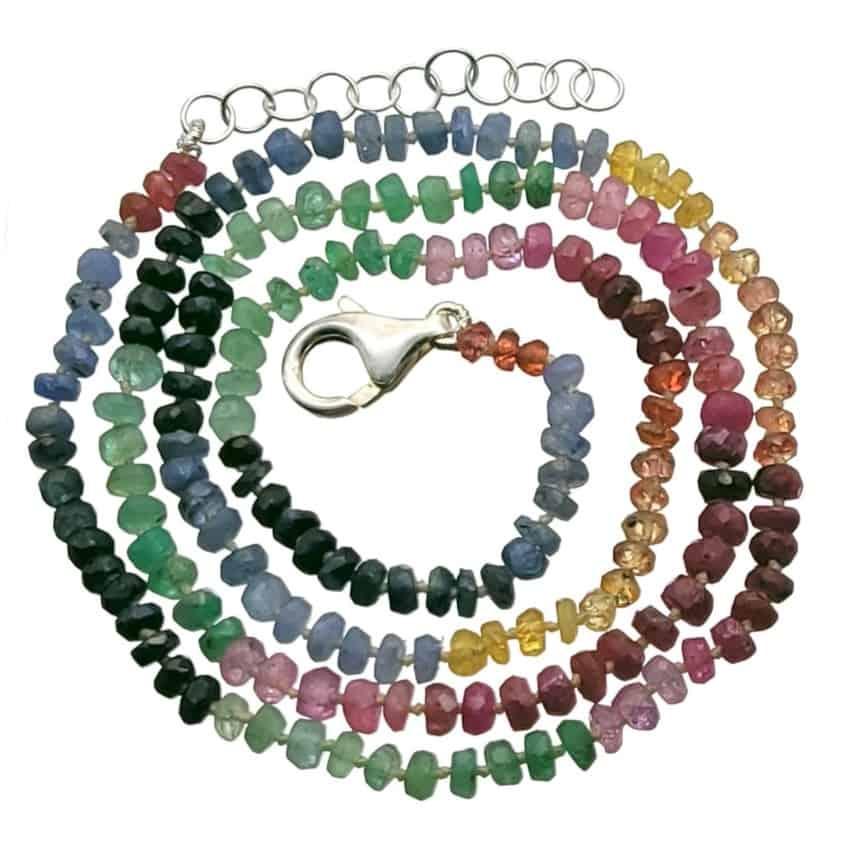 collar multipiedras de rubí, esmeralda, zafiro y heliodoro