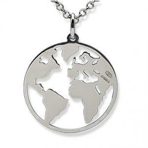 Colgante Mapa Mundi, Mundo en plata