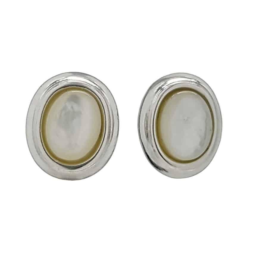 Pendientes piedras ovales de nácar en plata (1)
