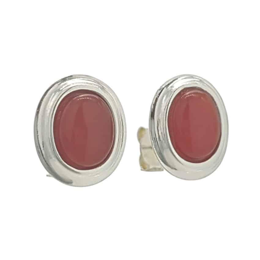 Pendientes plata 925 con piedras ovales de cornalina (1)