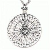 Rosa de los Vientos, amuleto de plata en forma de colgante