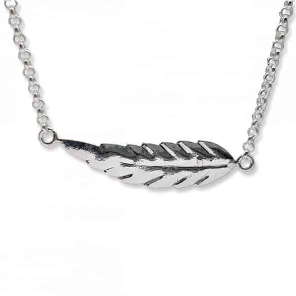 Collar pluma de plata
