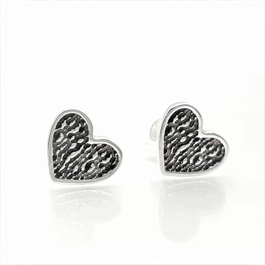 Pendientes con corazón en plata