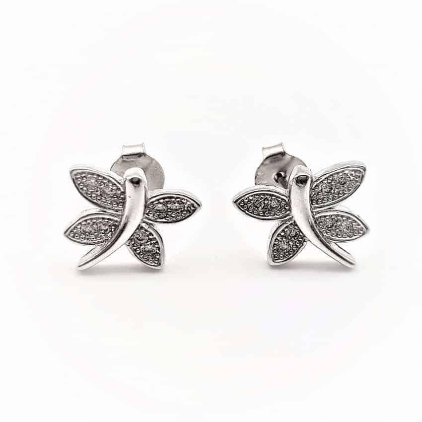 Pendientes mariposa con circonitas en plata rodiada