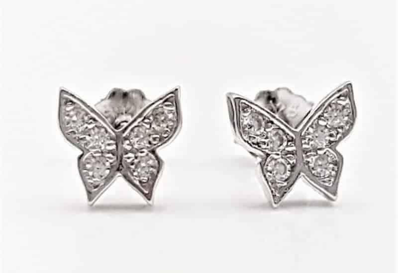 Pendientes mariposa con circonitas en plata