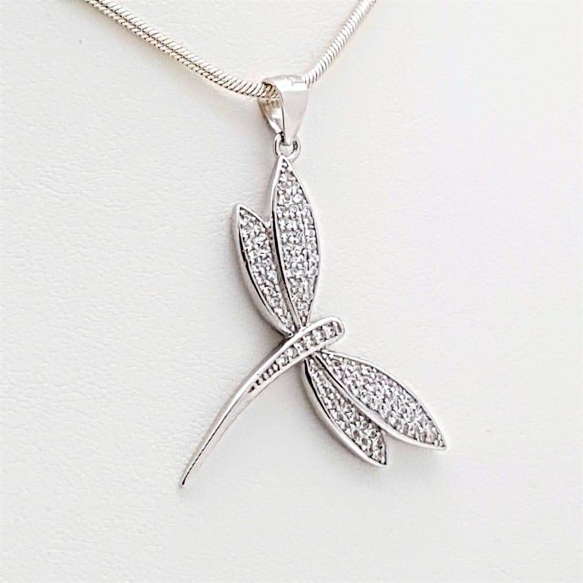 Colgante con libélula en plata rodiada