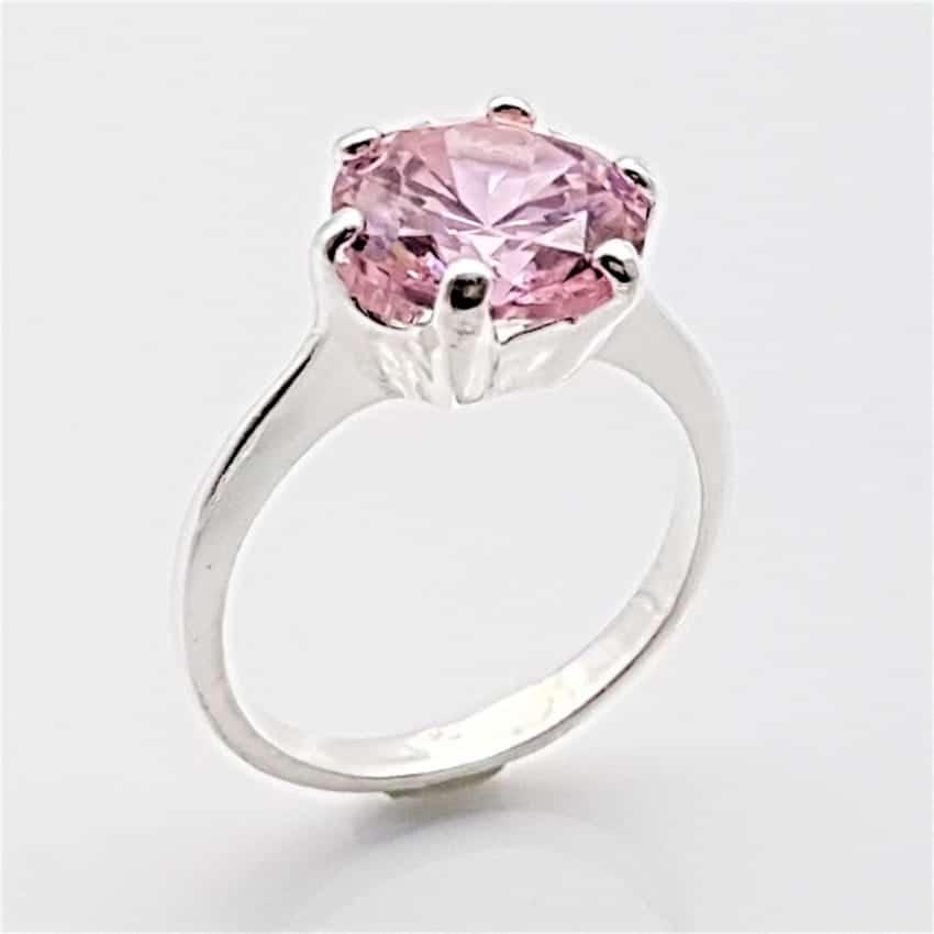 Anillo circonita rosa en plata
