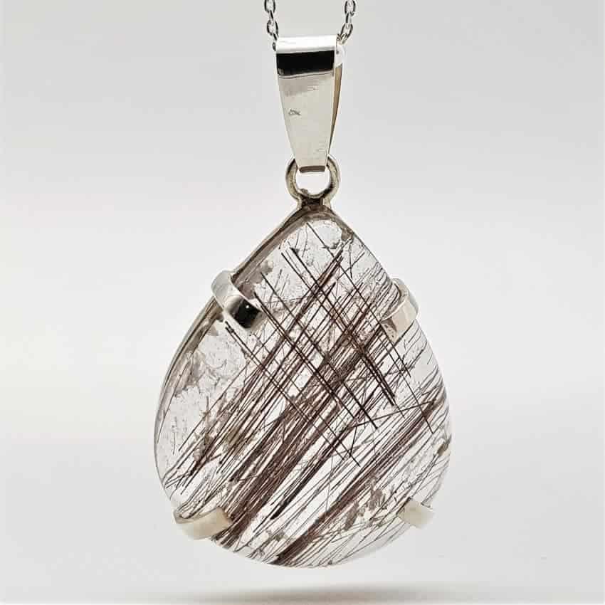 Colgante de cuarzo rutilado en plata