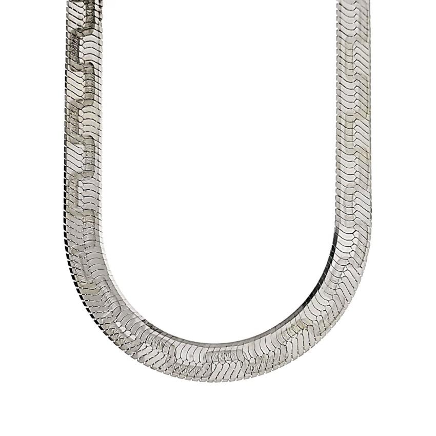 Gargantilla plana zig – zag en plata (1)