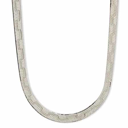 Collar gargantilla plana de 5 mm. de ancho x 45 cms de largo en plata