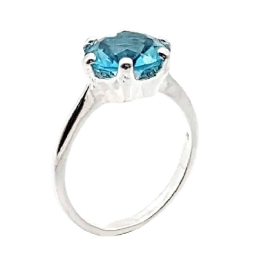 anillo solitario circonita azul