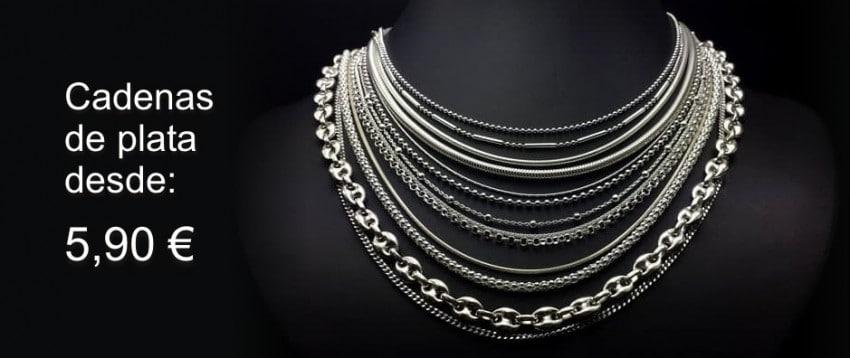 Cadenas de plata para mujer y para hombre desde 5,90 €
