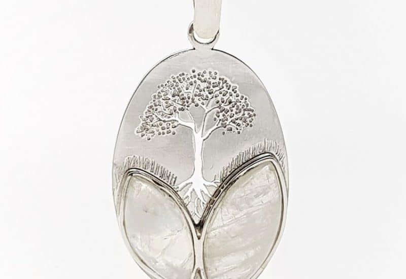 Colgante Piedra Luna fabricado en plata – árbol de la vida