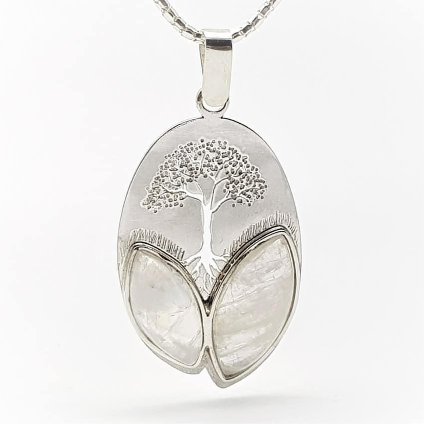 Colgante de piedra luna con árbol de la vida en plata