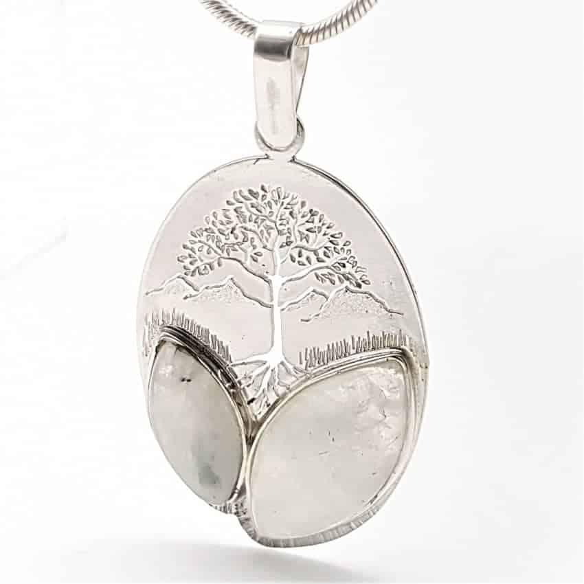 Colgante árbol de la vida y piedra luna en plata (1)