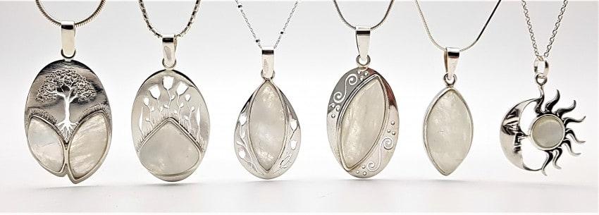 joyas de piedra luna, colgantes
