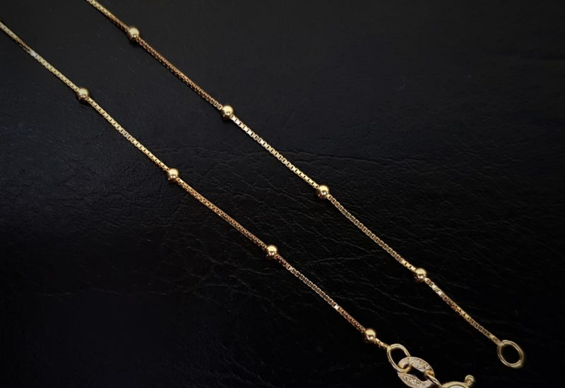 Cadena BOX de 40 cm en plata – chapada en oro