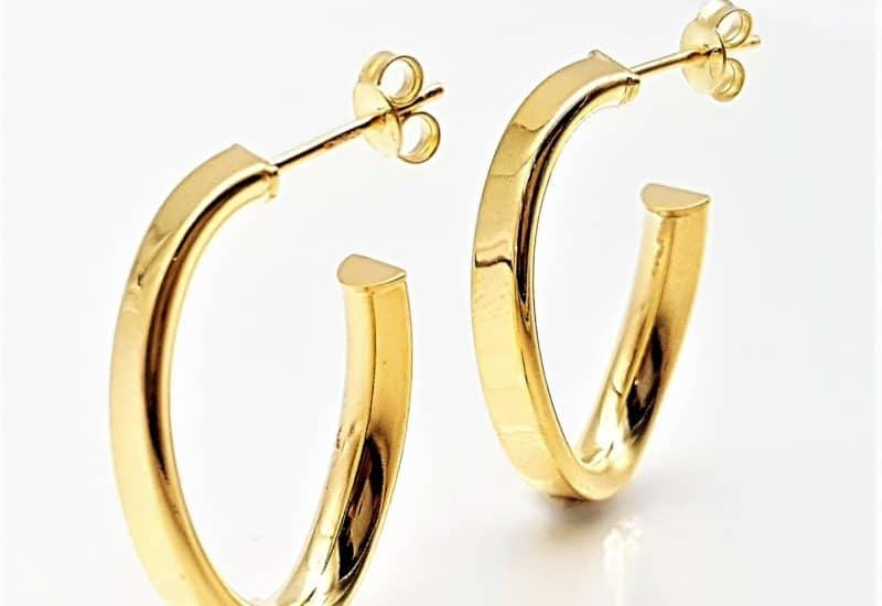 Argollas chapadas en oro fabricadas plata de ley 925 mls