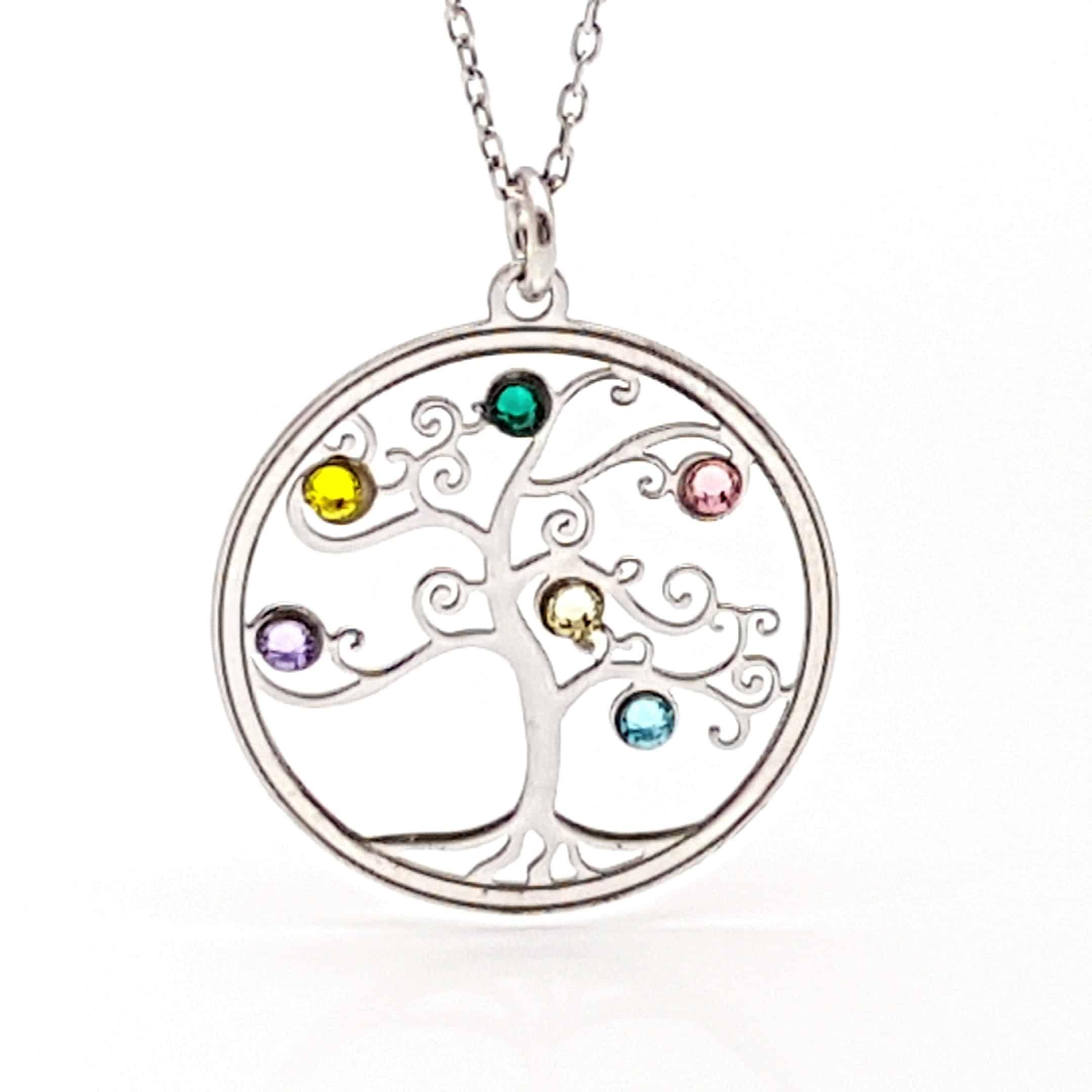 Colgante árbol de la vida en plata y circonitas de colores (2)