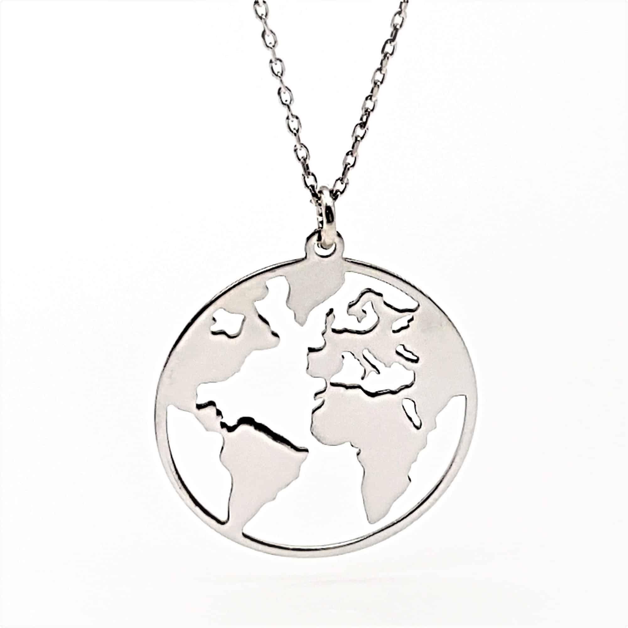 Colgante Mapa Mundi en plata rodiada (4)