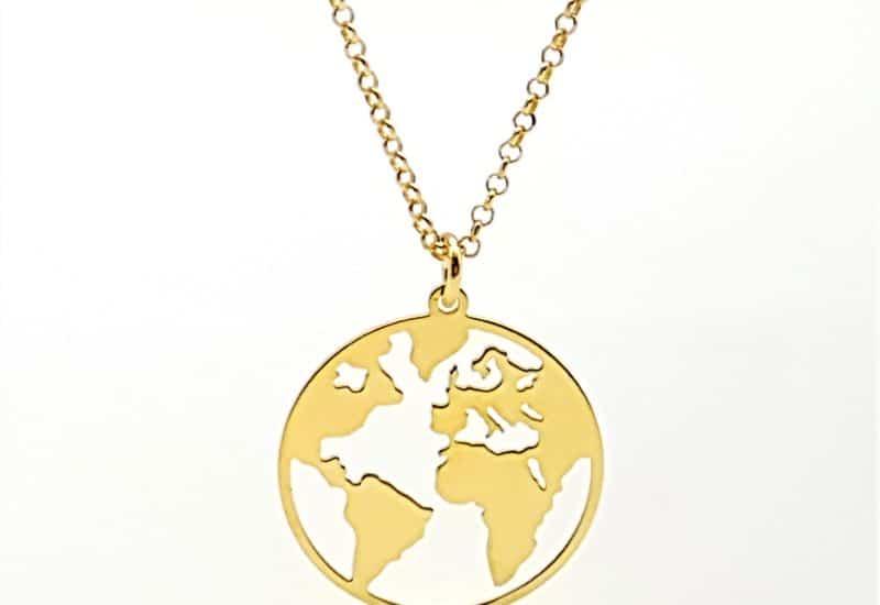 Colgante mundo y gargantilla en plata chapados en oro